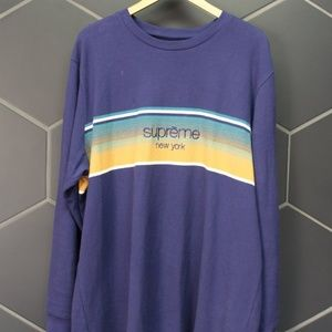 """Used! Supreme Shadow Stripe L/S Top """"Navy"""" Size XL"""